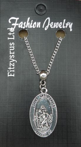 "18 Inch or 24"" Inch Necklace & St Christopher Saint   Catholic"